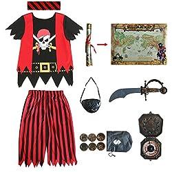 Sincere Party Disfraz de Pirata para niños, Juego de rol Pirata, Conjunto Completo de 8 Piezas para niños tamaño 3-4,5-6,7-8,8-10