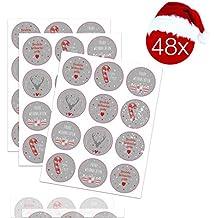 TK Gruppe Timo Klingler 48x Aufkleber Sticker Geschenkaufkleber Weihnachten für Geschenke, Weihnachtsaufkleber, Weihnachtsverpackung