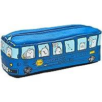 Estuche en forma de bus Fablcrew Creative, de dibujos animados, bolsa de almacenamiento para cosméticos, de color azul