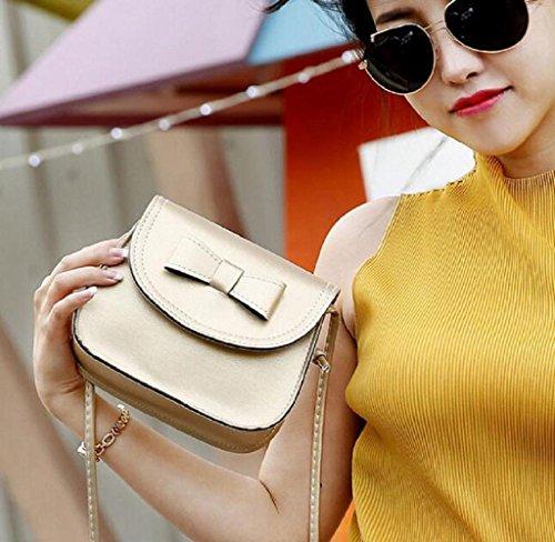 Covermason Damen Bowknot Handtaschen Schultertaschen Einzel-Umhängetasche Telefon Tasche Münzen Beutel Gold