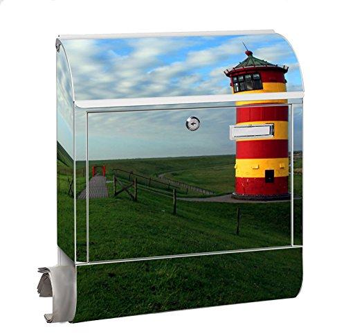 Design Motiv Briefkasten Maxi mit Zeitungsfach Zeitungsrolle für A4 Post slk shop Groß Leuchtturm