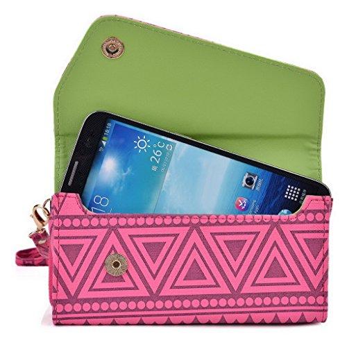 Kroo d'embrayage avec dragonne Portefeuille 16cm Smartphones et phablettes pour HTC Desire 816/816G Dual SIM/820 Multicolore - White with Mint Blue Multicolore - Rose