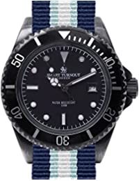 Smart Turnout Trenchant Men's Quartz Watch with Black Dial Analogue Display and Blue Nylon Strap STJ/52/009/BK/W-RO