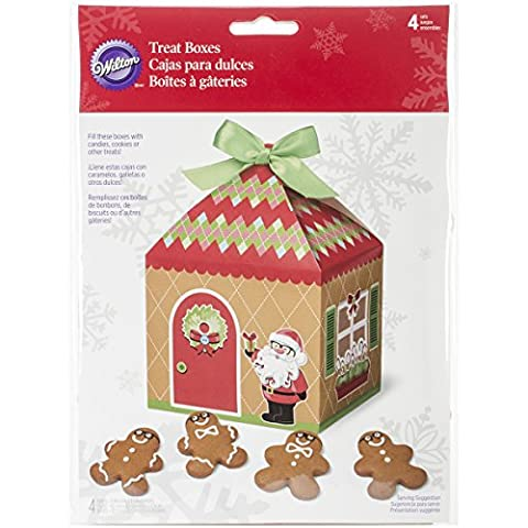 Wilton 4-Piece Christmas Sweet Holiday Sharing Gingerbread House Treat Box Set