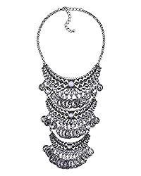 Young & Forever Tribal Muse Collection All the World's a Stage Layered Necklace silver plated layered statement necklace for girls by CrazeeMania - N80417