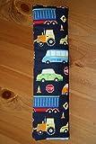 Auto Gurtpolster für Kinder und Erwachsene dunkelblau mit bunten Fahrzeugen
