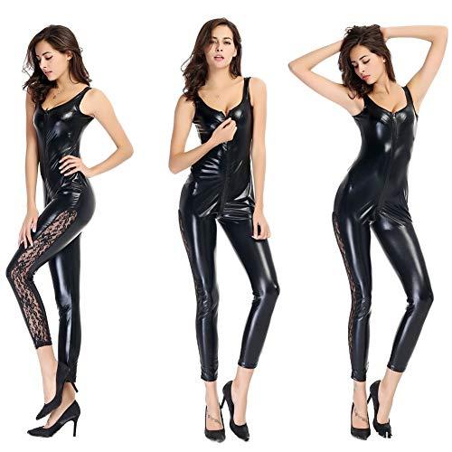 OLLOLCCY Damen Sexy Schwarz PVC Spandex Glänzende Catsuit Kostüm Mode Sexy Frauen Leder Body Dessous Overall Party Clubwear (Die Schwarze Parade Kostüm)