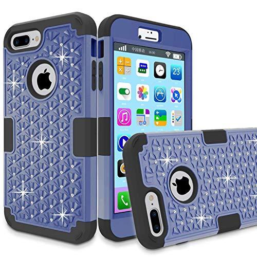 iPhone 7Plus Case, greenelec [Diamond Studded Bling Strass] Heavy Duty Dual Layer Rüstung Defender Gummierte Schutzhülle mit Passform Perfekt, Kratzfest, Schwarz (Navy Black) Sprint Touch Diamond