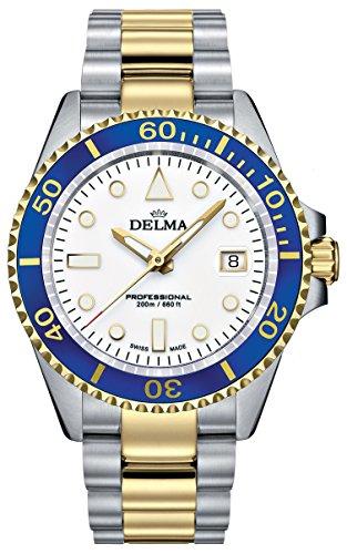 DELMA - Schweizer Sportuhr - Herrenuhr Commodore, bicolor weiß-blau - Ø 43 mm