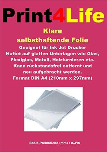10 Blatt A4 Inkjet Cling Folie klar. Selbsthaftende Folie für Ink Jet Drucker. Eine klare,...