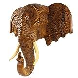 Oriental Galerie Elefantenkopf Wanddeko Elefant Holz Kopf Skulptur Figur Trophäe Wandfigur 50cm