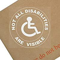 Vinilo adhesivo redondo con texto en inglés «Not All Disabilities Are Visible» para coche