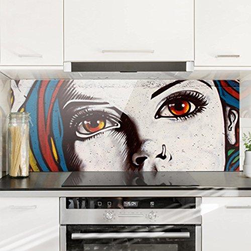 Bilderwelten Spritzschutz Glas - Punk Graffiti - Panorama Quer Wandbild Küchenrückwand Küchenspiegel Küchenspritzschutz Glasrückwand Küche Spritzschutz Herd, Größe HxB: 40cm x 100cm (Punk Graffiti)