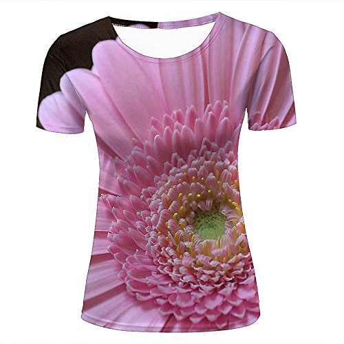 ouzhouxijia Mens 3D Printed T-Shirts Charming Pink Gerbera Graphics Couple Tees C