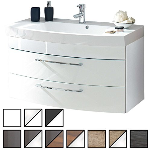 e-combuy Möbel Waschtisch Belum Weiß (Waschbecken mit Waschbeckenunterschrank) Breite ca. 100 cm, für Gäste-WC, Form recht-eckig, hängend, Front leicht geschwungen, 2 Schubladen breit, Hochglanz