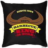100 % Barbecue King is born, since 1964 zum 50. Geburtstag, Kissen mit Füllung