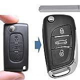 Klapp Schlüssel UMBAU Gehäuse Fernbedienung 3 Tasten VA2 Rohling für Citroen/Peugeot / FIAT