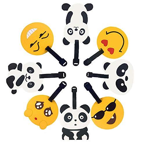Reisegepäck Tags, Emoji Panda Koffer Reise ID Label Tags Halter, PVC Identifikator Label Halter für Gepäck (panda+emoji 8pc)