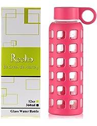 Reeho® Deportes Borosilicato Botella de Agua de Vidrio con Silicona Manga [Libre de BPA] (Rosa Roja, 360ml)
