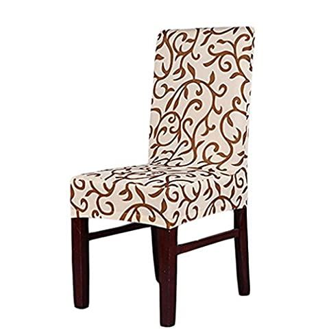 ALCYONEUS Stretch Banquet Slipcovers Wedding Party Dining Room Folding Short Chair Covers (Champagne Floral Print