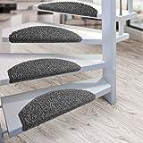 Kit de 15 marchettes d'escalier casa pura® Sphinx à poil long | amortissantes et résistantes | gris...
