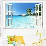 AWAKINK grande extraíble playa mar 3d ventana de vinilo decoración para el hogar exótica playa vista arte papel pintado de vista paisaje decoración del hogar arte bricolaje decoración pared pegatinas para dormitorio sala de estar