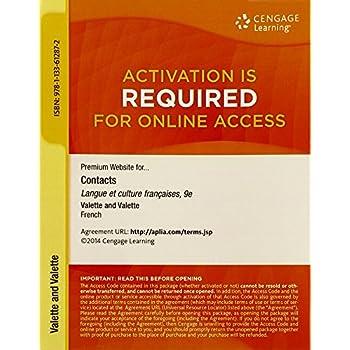 Premium Web Site, 4 terms (24 months) Printed Access Card for Valette/Valette's Contacts: Langue et culture françaises, 9th
