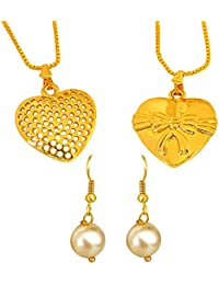 Surat Diamonds 2 Big Heart And Bow Shaped Gold Plated Pendant And Shell Pearl Earring Set For Women With 22 IN...