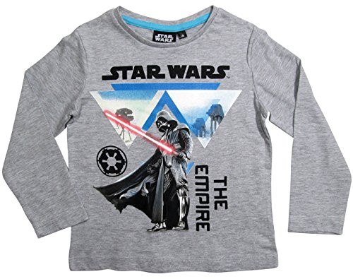 Star Wars Kollektion 2017 Langarmshirt 110 116 122 128 134 140 146 152 Shirt Sturmtruppler Stromtrooper Top (122-128, Grau)