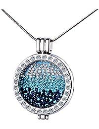 Yumi Lok Colores Plata/Oro rosa liegierung cristales intercambiables Moneda Coin Colgante Medallón Collar Suéter Cadena con colgante para mujer Chica