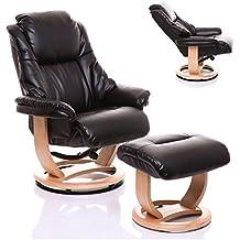 Sillón The Emperor - silla giratoria reclinable de cuero y reposapiés a juego en negro