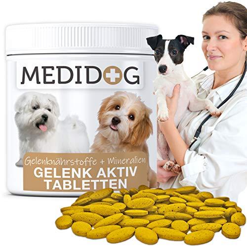 Medidog Gelenk Aktiv Gelenktabletten für Hunde 185 Tabletten (130g) mehr Bewegungsfreude und Mobilität,Teufelskralle, Glucosamin, Chondriotin, MSM, Kurkuma, Gelenkpulver für Hunde, Grünlippmuschel