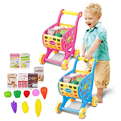 fomccu Warenkorb Trolley Spielzeug simulieren Supermarkt mit Gemüse Obst Pretend Play für Kid Weihnachten Geschenk Blau (Push Cart Für Lebensmittel)