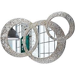 Pintdecor, Circles - Pequeño Espejo, MDF/Cristal, Plateado, 74x 50cm