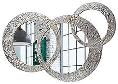 Idea Regalo - Pintdecor Specchio Circles Piccola Specchiera sagomata, legno composito, Argento, Oro, 74 x 50 cm, Made in Italy