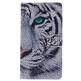KATUMO® Book Style Hülle für Samsung Galaxy S3 Case Cover im Portemonnaie Design Handytasche Galaxy S3 Neo/S3 I9300 Schale in Weiß Tiger