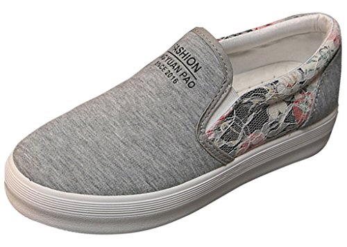 La Vogue Baskets Slip-On Basses Mode Ville Femme Fille Sneakers Chaussures Tendance Florales Casual Gris