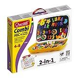 Quercetti 5285 - Magneta Combi ABC und 123 magnetische Zahlen und Buchstaben mit Zeichenfläche