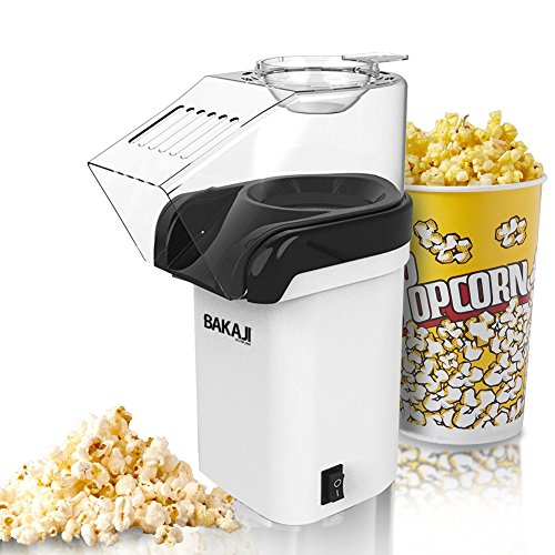 Bakaji Maschine für Pop Corn Elektrische Heißluft ohne Öl Professionelle Leistung 1200W mit Deckel zum Nachfüllen für Party Party Cinema Kinder Größe 18x 26,5x 11,5cm