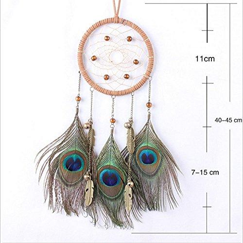Traumfänger - die traditionelle Pfauenfeder Farbe Dreamcatcher ~ 18cm Durchmesser 45cm lang Von Pauline - Belly Catcher Dream Button