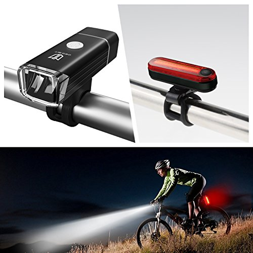 Bike Lights, DEGBIT® USB Rechargeable Bike Light Set, Mountain Bike Light, Cycle Lights, LED Bicycle Lights Rechargeable, Quick Release, USB Rechargeable Front Light Headlight and Tail Back Light