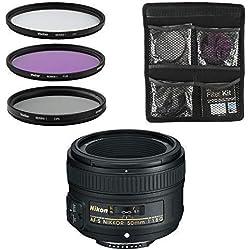 Nikon Objectif - AF-S FX NIKKOR 50mm f/1.8G - Objectif pour Appareil Photo Reflex Numérique + Jeu de 3 filtres UV, FLD, CPL - Noir