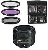 Nikon Objektiv - AF-S FX NIKKOR 50mm 1:1.8G - Festbrennweite-Objektiv für Spiegelreflexkameras + 3-Teiliges Filterset UV, FLD, CPL - Schwarz