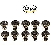 Paquete de 10 tiradores de flor de bronce antiguo con