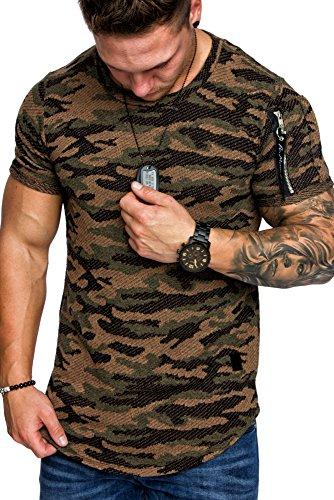 Amaci&Sons Oversize Camouflage Vintage Herren Cargo-Style Shirt Sweatshirt Crew-Neck 6018 Camouflage Braun M