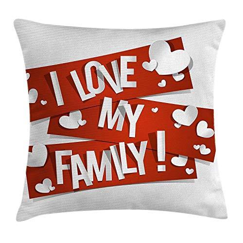 Meimei2 famiglia federa per cuscino, red decorative con famiglia messaggio di amore e cuori bianchi appassionato illustrazione, decorative square accent pillow case, 45,7x 45,7cm, arancione bianco