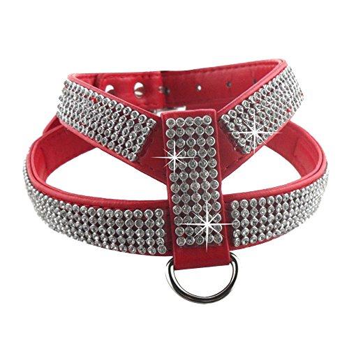Eizr Hunde Geschirr Verstellbare Sicherheitsgeschirr Brustgeschirr Hundegeschirr Ultra-Soft Einfarbig Weiches mit Diamanten Bling Strass 4 Sizes XS/ S/ M/ L 4 Farben- Schwarz / Blau / Rot / Rosa Rosa Strass Bling