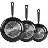VonShef 3 pc Black Aluminium Frying Pan Set – Cookware Set Includes 20