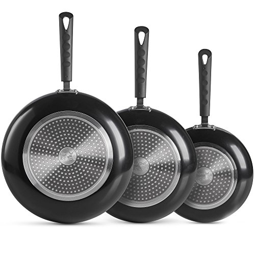 VonShef 3 pc Black Aluminium Frying Pan Set – Cookware Set Includes 20, 24 & 28 cm Skillets with Non-Stick Coating & Cool Touch Cast Steel / Silicone Handles