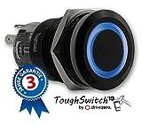 .drivezero. ToughSwitch '19 – Schalter schwarz (bis 230V / 5A) mit LED-Leuchtring Blau 12V, staub- und wasserdicht (IP67)
